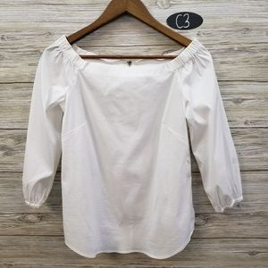 WHBM White On or Off The Shoulder Top